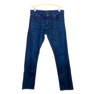 Nudie Jeans co. Dark wash high rise button jeans